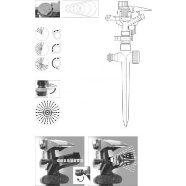 Aspersor metalic cu impuls rotativ
