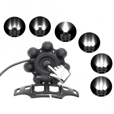 Lanterna frontala 8 LED circulare cu acumulatori iluminare T6, XPE, COB SOS